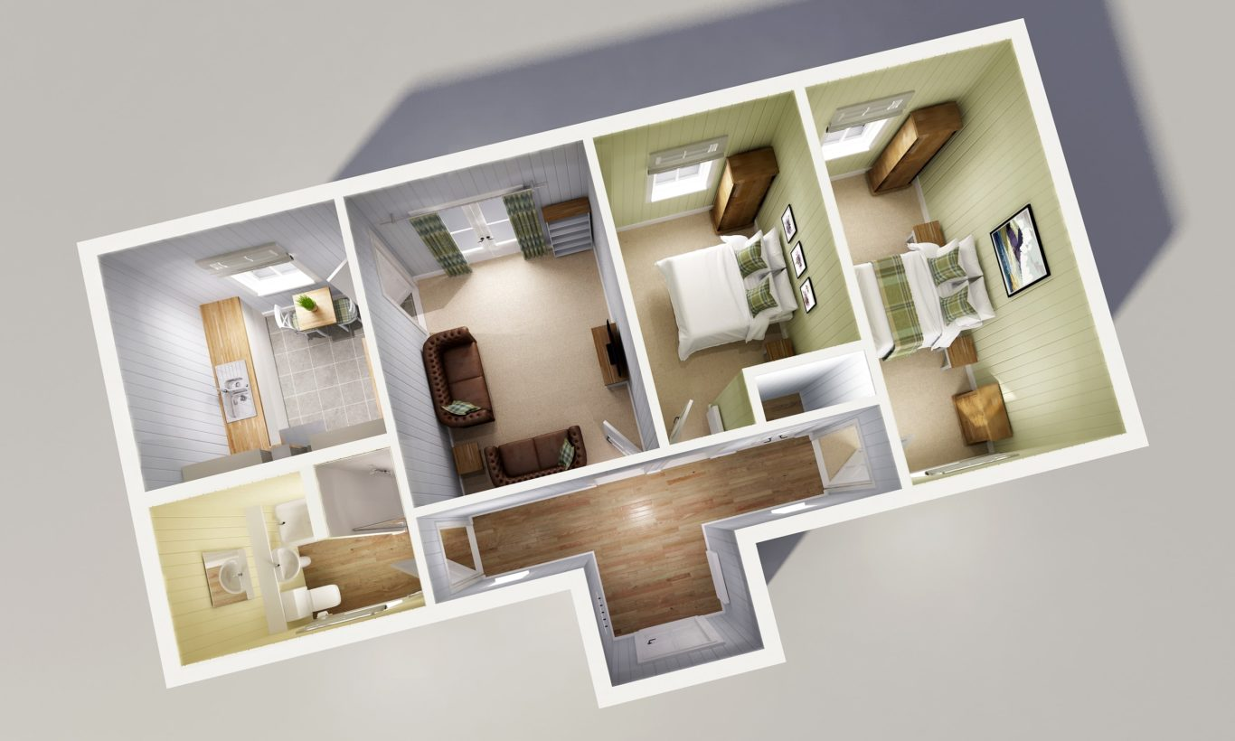 Two Bedroom Cottage Modular Home Floor Plan The Wee House Company